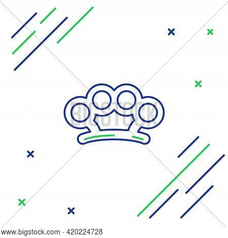 Line Brass Knuckles Icon Isolated On White Background. Colorful Outline Concept. Vector