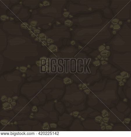 Ground Seamless Pattern, Brown Dirt Soil Texture For Game Ui.