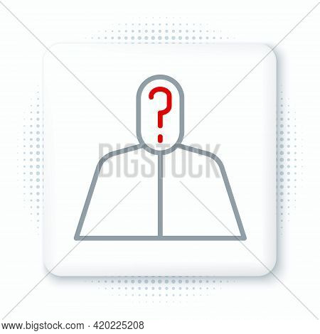 Line Anonymous Man With Question Mark Icon Isolated On White Background. Unknown User, Incognito Pro