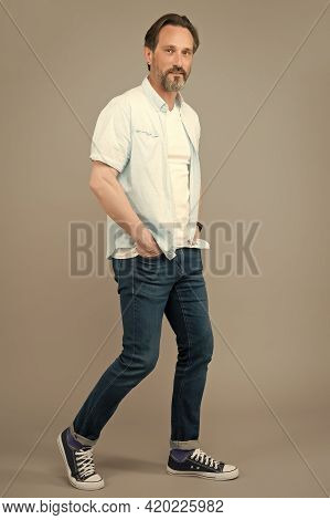 Try To Look Younger. Mature Person Wear Modern Stylish Clothes For Youth. Hipster Guy. Stylish Hipst