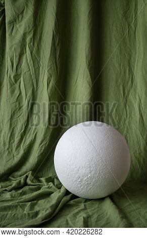 Draped Muslin Green Fabric Cloth Studio Backdrop Or Background And White Big Ball