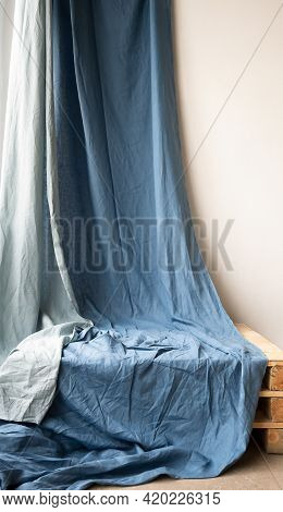 Draped Muslin Blue Fabric Cloth Studio Backdrop Or Background, Suitable For Use With Portraits, Prod