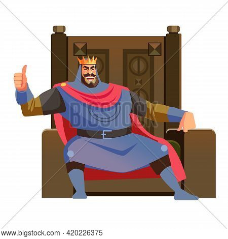 Happy King. Cartoon King Sits On Throne And Gives Thumbs Up While Smiling, Cartoon Vector Illustrati