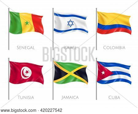 Country Flags Set With Senegal And Cuba Flags Realistic Isolated Vector Illustration