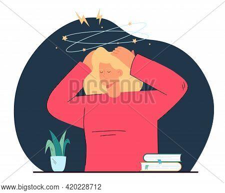 Young Woman Feeling Dizzy Or Sick. Cartoon Drunk Or Tired Person Touching Head, Vertigo Flat Vector