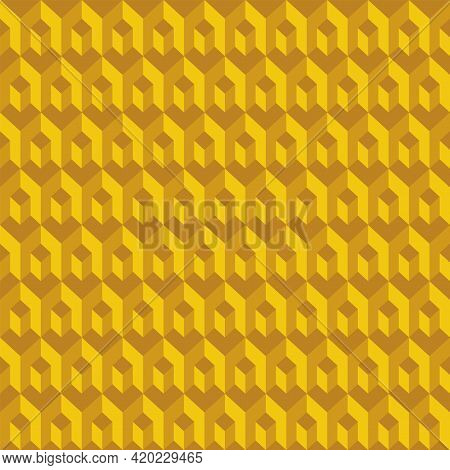 Abstract Seamless Pattern Of Yellow Cubes And Hexagons. Repeating Geometric Tiles With 3d Cubes. Vec