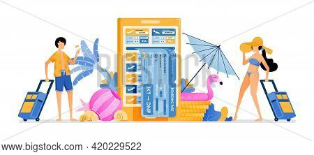 People Choose Flight Tickets To Tropical Countries For Summer Vacation. Mobile Apps For Purchasing A