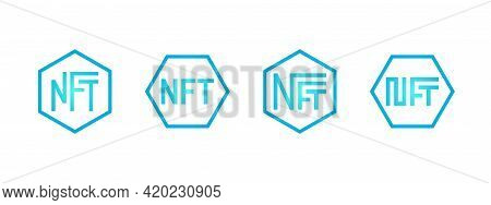 Nft Non-fungible Blue Token Logo Set. Online Money For Buy Exclusive Art Icon Collection. Pay For Un