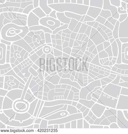 Seamless City Map Pattern. Vector Repeating Background With A Schematic Road Map Of An Abstract City