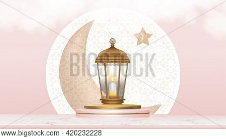 Eid Mubarak Islamic Greeting Design Background With Crescent Moon And Star With Traditional Islamic
