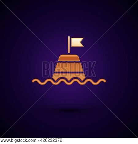 Gold Floating Buoy On The Sea Icon Isolated On Black Background. Vector