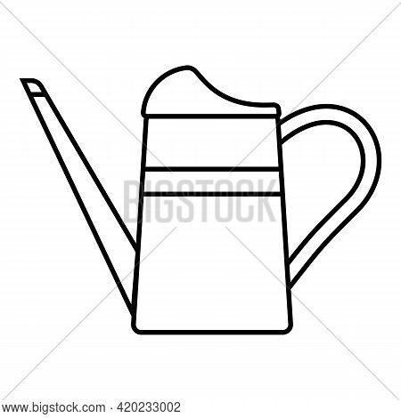 Garden Watering Can With Long Spout, Icon Isolated On White Background. Garden Tools, Household Plot