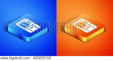 Isometric Atm - Automated Teller Machine And Money Icon Isolated On Blue And Orange Background. Squa
