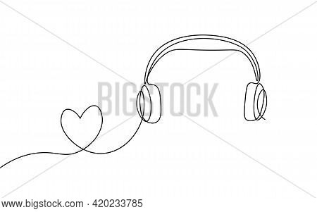 Single Continuous Line Art Music Library Like. Learning Listen Apps Master Headphones Graduate Onlin
