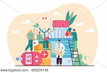Group Of Tiny Pharmacists. Cartoon Doctors With Different Pills, Vitamins, Antibiotics Flat Vector I