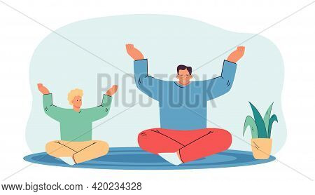 Cartoon Father And Son Meditating. Flat Vector Illustration. Man And Little Boy Doing Yoga, Sitting