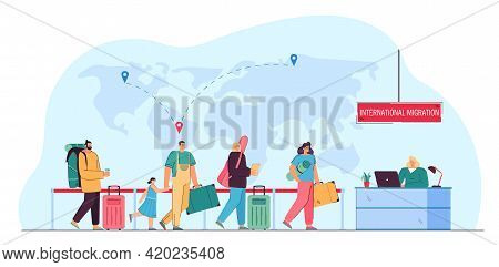 Immigrants Queueing For Registration. World Map With Destination Pins, Woman At Counter Flat Vector