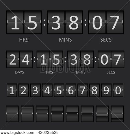 Vector Countdown Timer And Scoreboard Numbers. Eps10 Opacity. Editable Eps And Render In Jpg Format