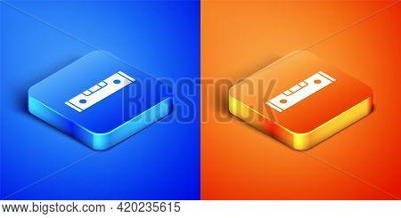 Isometric Construction Bubble Level Icon Isolated On Blue And Orange Background. Waterpas, Measuring