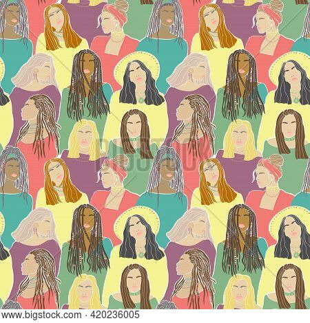 Trendy Seamless Pattern Woman Face Braids, Great Design For Any Purposes.vector Graphic. Girl Charac