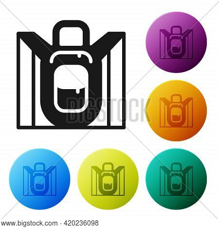 Black Hiking Backpack Icon Isolated On White Background. Camping And Mountain Exploring Backpack. Se