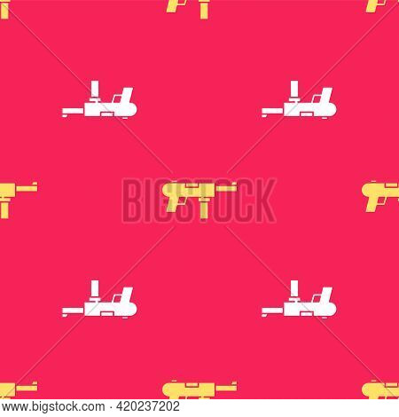 Yellow Submachine Gun M3, Grease Gun Icon Isolated Seamless Pattern On Red Background. Vector