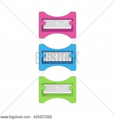 Flat Icon Pencil Sharpener Isolated On White Background. Pink, Blue And Green Pencil Sharpener. Vect