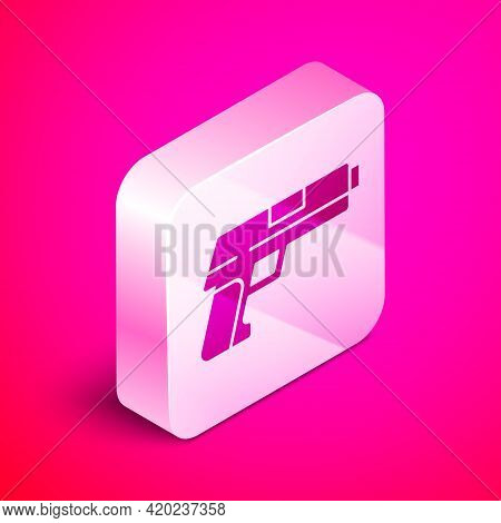 Isometric Pistol Or Gun Icon Isolated On Pink Background. Police Or Military Handgun. Small Firearm.
