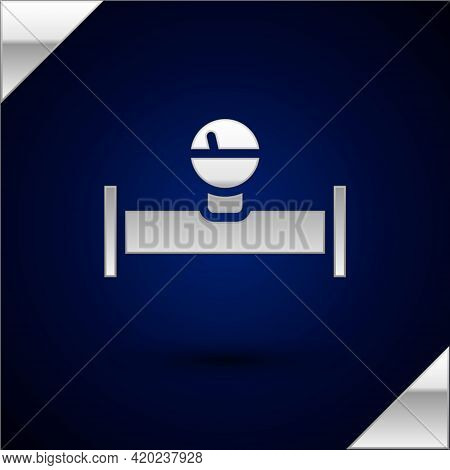 Silver Industry Metallic Pipe And Manometer Icon Isolated On Dark Blue Background. Vector