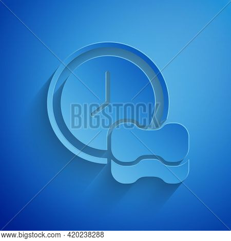 Paper Cut Washing Dishes Icon Isolated On Blue Background. Cleaning Dishes Icon. Dishwasher Sign. Cl