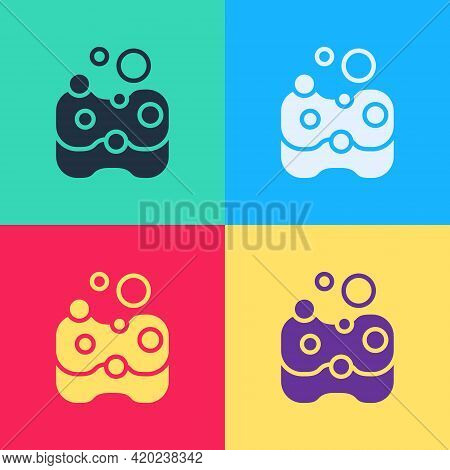Pop Art Sponge Icon Isolated On Color Background. Wisp Of Bast For Washing Dishes. Cleaning Service