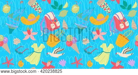 Summer Things For Vacation. Seamless Pattern. Backpack, Cocktail, Bag, Flowers, Dress Are Different