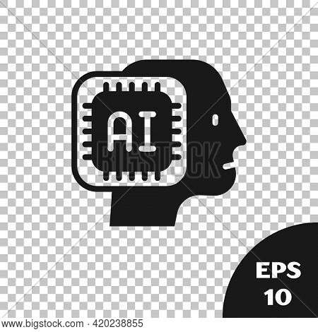 Black Humanoid Robot Icon Isolated On Transparent Background. Artificial Intelligence, Machine Learn