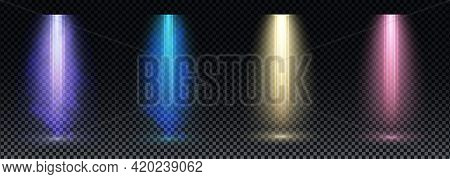 Set Of Gold, Purple And Blue Spotlight. Bright Lighting With Spotlights Of The Stage On Transparent