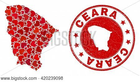Mosaic Ceara State Map Formed From Red Love Hearts, And Rubber Badge. Vector Lovely Round Red Rubber