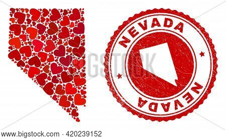 Mosaic Nevada State Map Designed With Red Love Hearts, And Rubber Seal Stamp. Vector Lovely Round Re