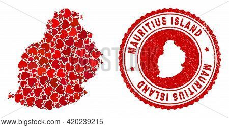 Mosaic Mauritius Island Map Designed With Red Love Hearts, And Rubber Stamp. Vector Lovely Round Red