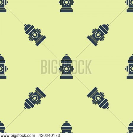 Blue Fire Hydrant Icon Isolated Seamless Pattern On Yellow Background. Vector