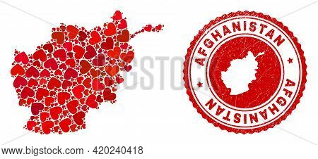 Mosaic Afghanistan Map Created With Red Love Hearts, And Textured Stamp. Vector Lovely Round Red Rub