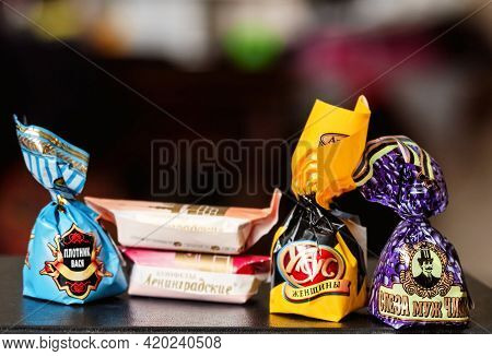 July 10, 2017 - Moscow, Russia: Really Tasty Russian Sweets Candys In Paper Wrappers For Good Mood