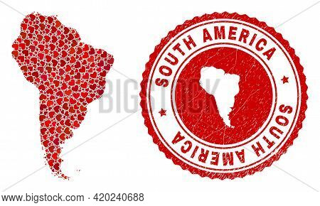 Mosaic South America Map Created With Red Love Hearts, And Textured Badge. Vector Lovely Round Red R