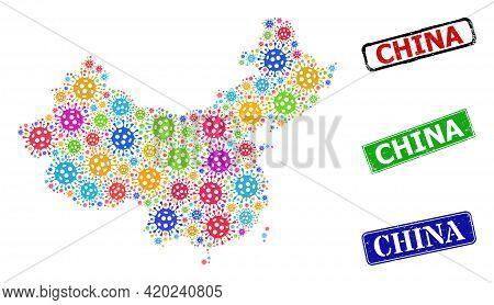 Vector Covid Mosaic China Map, And Grunge Seals. Vector Colored China Map Mosaic, And Dirty Framed R