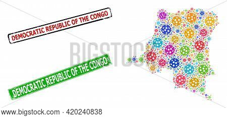 Vector Bacterium Collage Democratic Republic Of The Congo Map, And Grunge Seal Stamps. Vector Multi-