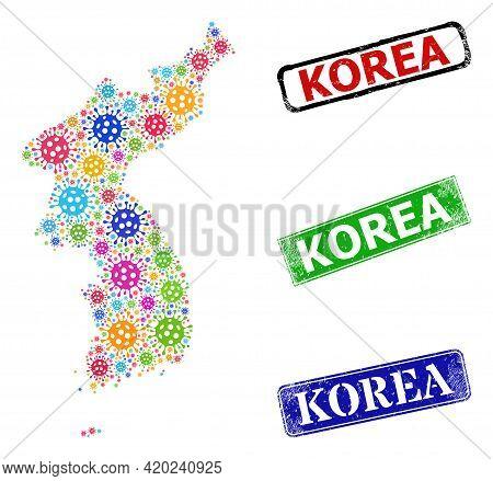Vector Bacilla Collage Korea Map, And Grunge Stamps. Vector Multi-colored Korea Map Collage, And Scr