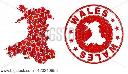 Collage Wales Map Created With Red Love Hearts, And Scratched Seal Stamp. Vector Lovely Round Red Ru