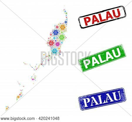 Vector Covid-2019 Collage Palau Map, And Grunge Badges. Vector Multi-colored Palau Map Collage, And