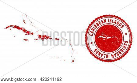 Collage Caribbean Islands Map Formed With Red Love Hearts, And Textured Seal Stamp. Vector Lovely Ro