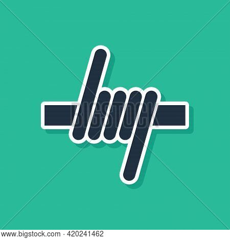 Blue Barbed Wire Icon Isolated On Green Background. Vector