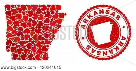 Collage Arkansas State Map Created With Red Love Hearts, And Dirty Seal Stamp. Vector Lovely Round R