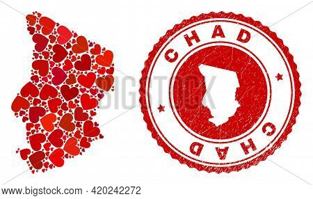 Collage Chad Map Composed With Red Love Hearts, And Dirty Seal Stamp. Vector Lovely Round Red Rubber